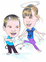 Fabulous angel and devil childrens colour caricature