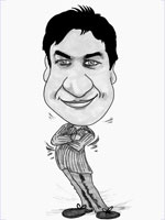 Brilliant black and white standard pose caricature man