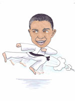 Karate black belt childrens colour caricature