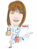 Just shopping colour caricature