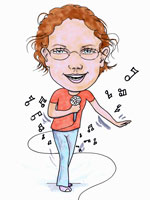 Karaoke queen childrens cartoon caricature
