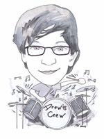 Drummer boy black and white cartoon caricature